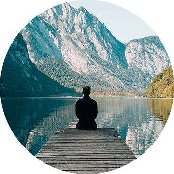growth oriented people - image of contemplation by lake